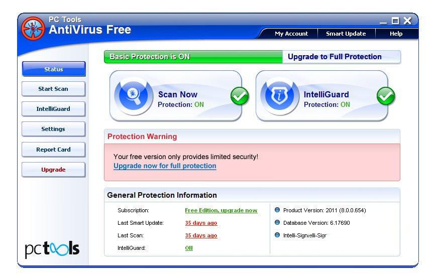 Скриншот антивируса PC Tools AntiVirus Free Edition
