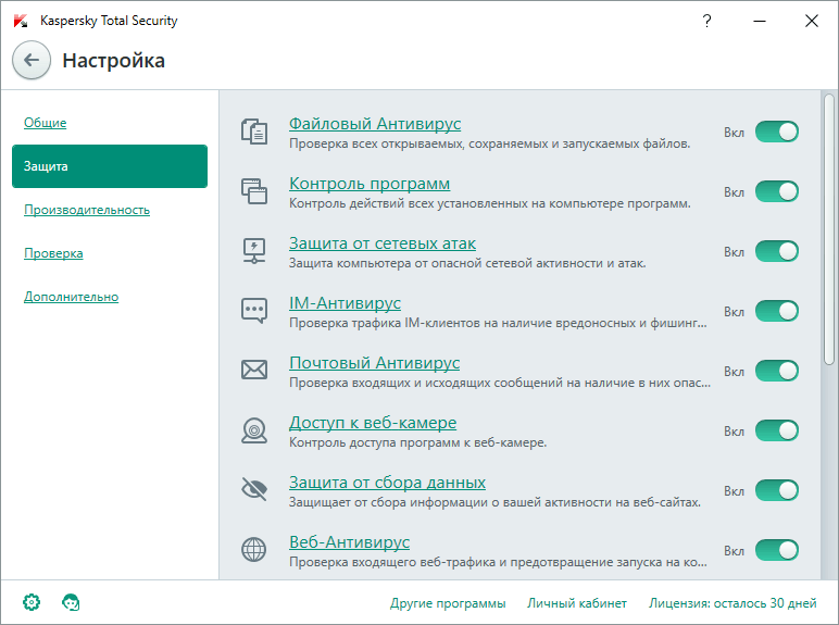 Скриншот антивируса Kaspersky Total Security 2016