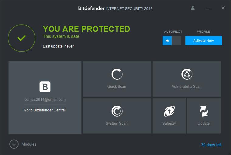 Скриншот антивируса Bitdefender Internet Security