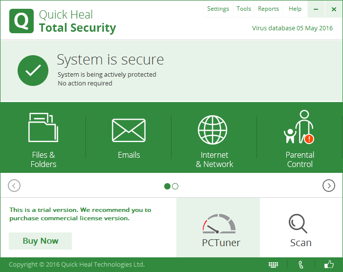 Скриншот антивируса Quick Heal Total Security