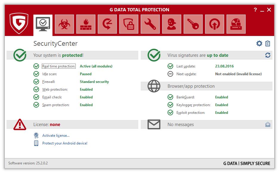 Скриншот антивируса G Data Total Protection