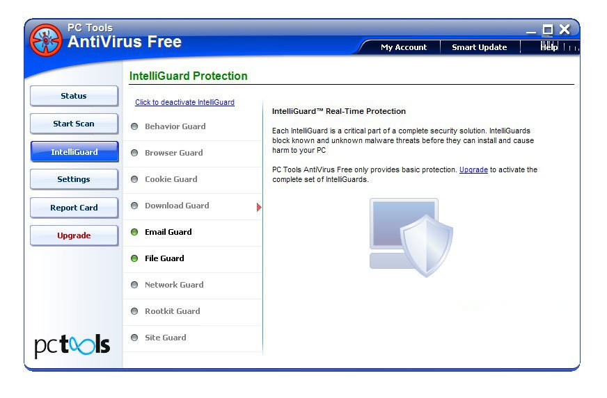 Скриншот антивируса PC Tools AntiVirus Free Edition
