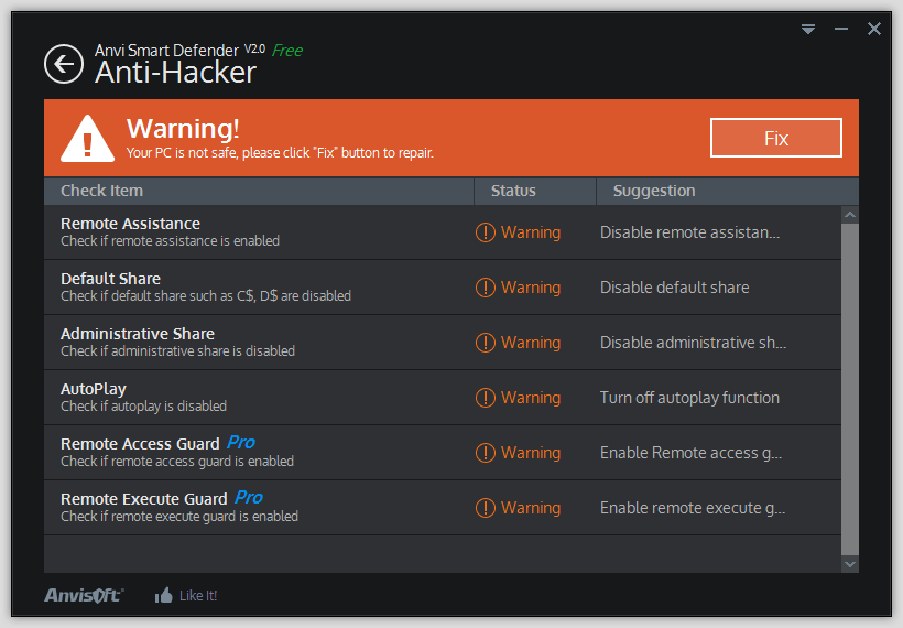 Скриншот антивируса Anvi Smart Defender Free