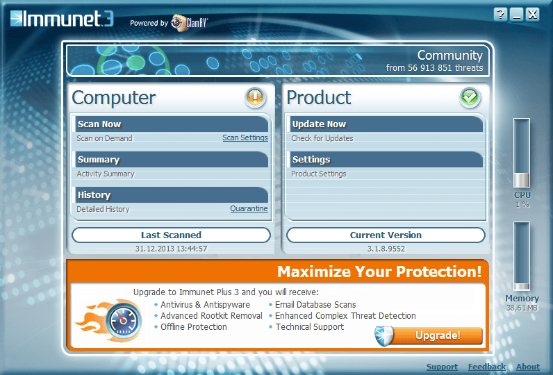 Скриншот антивируса Immunet Protect Free 3.1.13.9671