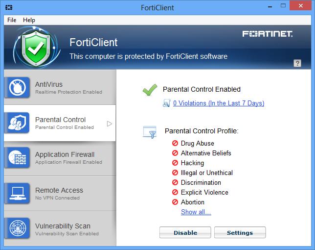 Скриншот антивируса FortiClient 5.2.3.0633