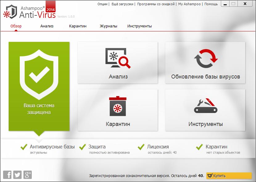 Скриншот антивируса Ashampoo AntiVirus 2015