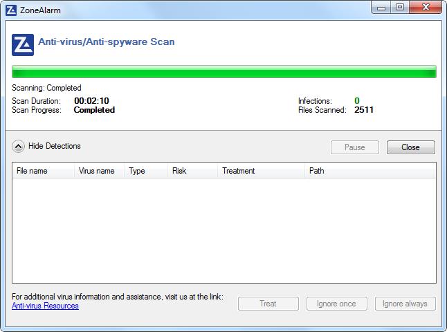 Скриншот антивируса ZoneAlarm free FireWall & Antivirus