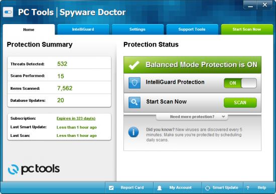 Бесплатный антивирус и антишпион PC Tools Spyware Doctor