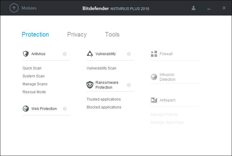 Скриншот антивируса Bitdefender Antivirus Plus 2016