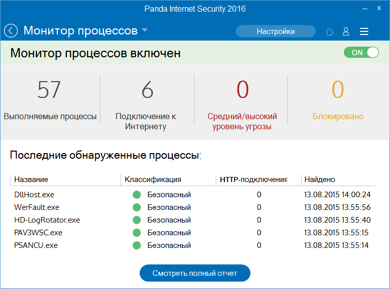 Скриншот антивируса Panda Internet Security 2016