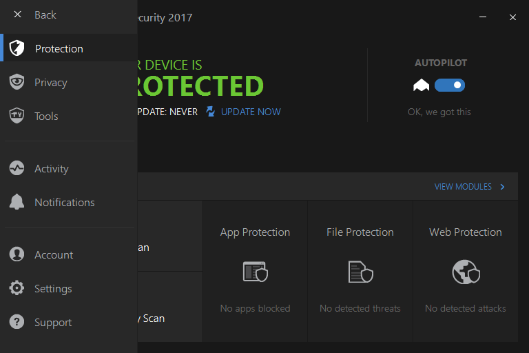 Скриншот антивируса Bitdefender Total Security 2017