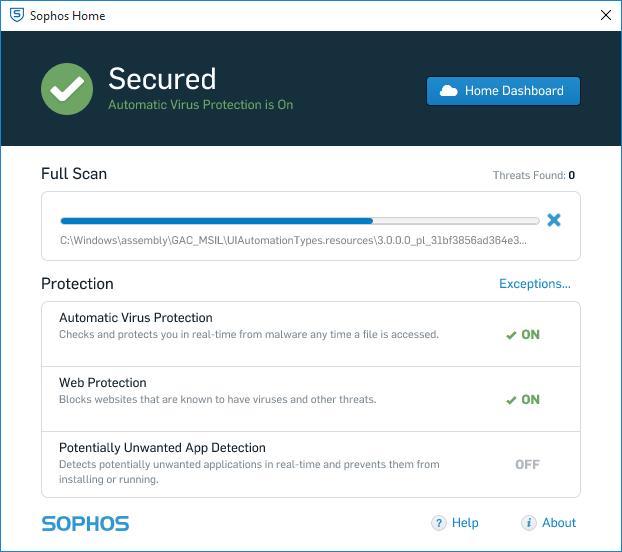 Скриншот антивируса Sophos Home