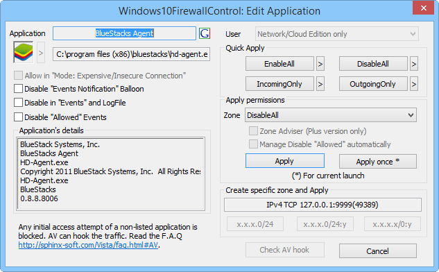 Скриншот антивируса Windows 10 Firewall Control