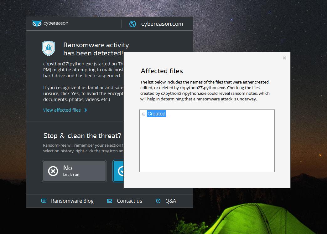 Скриншот антивируса Cybereason RansomFree